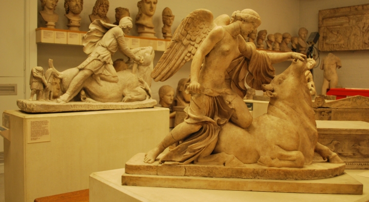 A winged-victory and the Townley tauroctony, British Museum