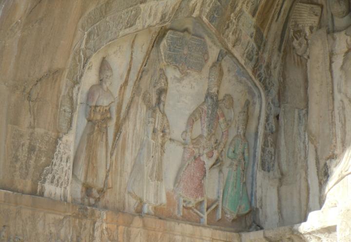 Qājār relief on ivān of Khosro II (Tāq-e Bostān III)