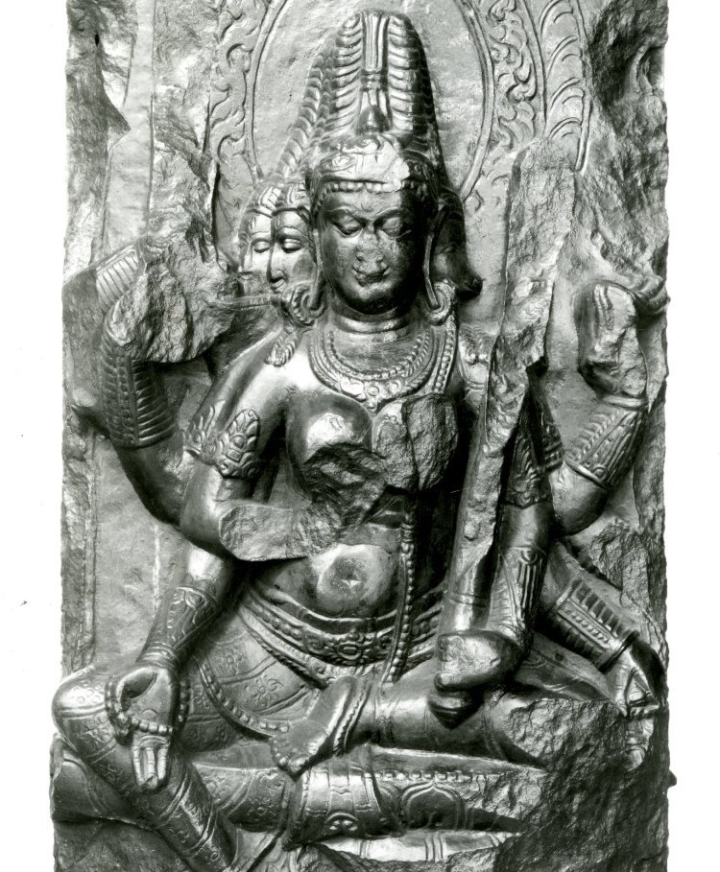 BM 1872,0701.42.a multi headed Tantric goddess in black basalt